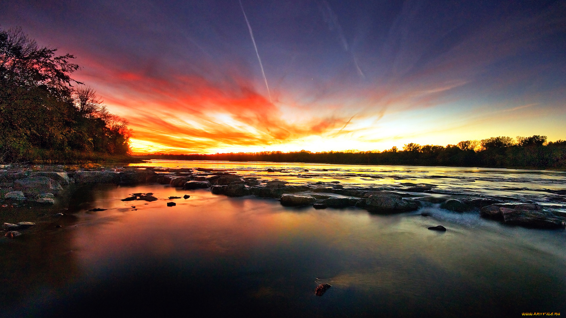 природа, восходы, закаты, пейзаж, закат, река